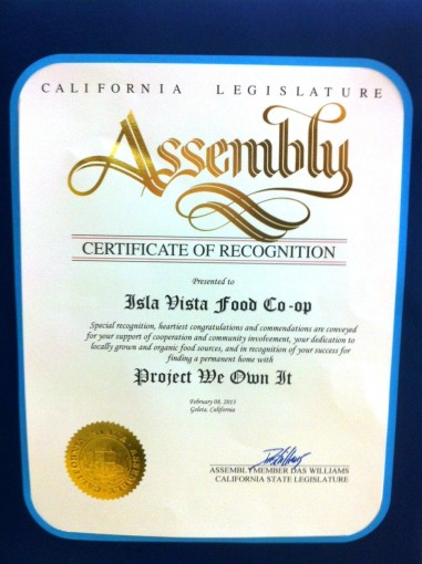 Certificate of Recognition from Assembly Member Das Williams